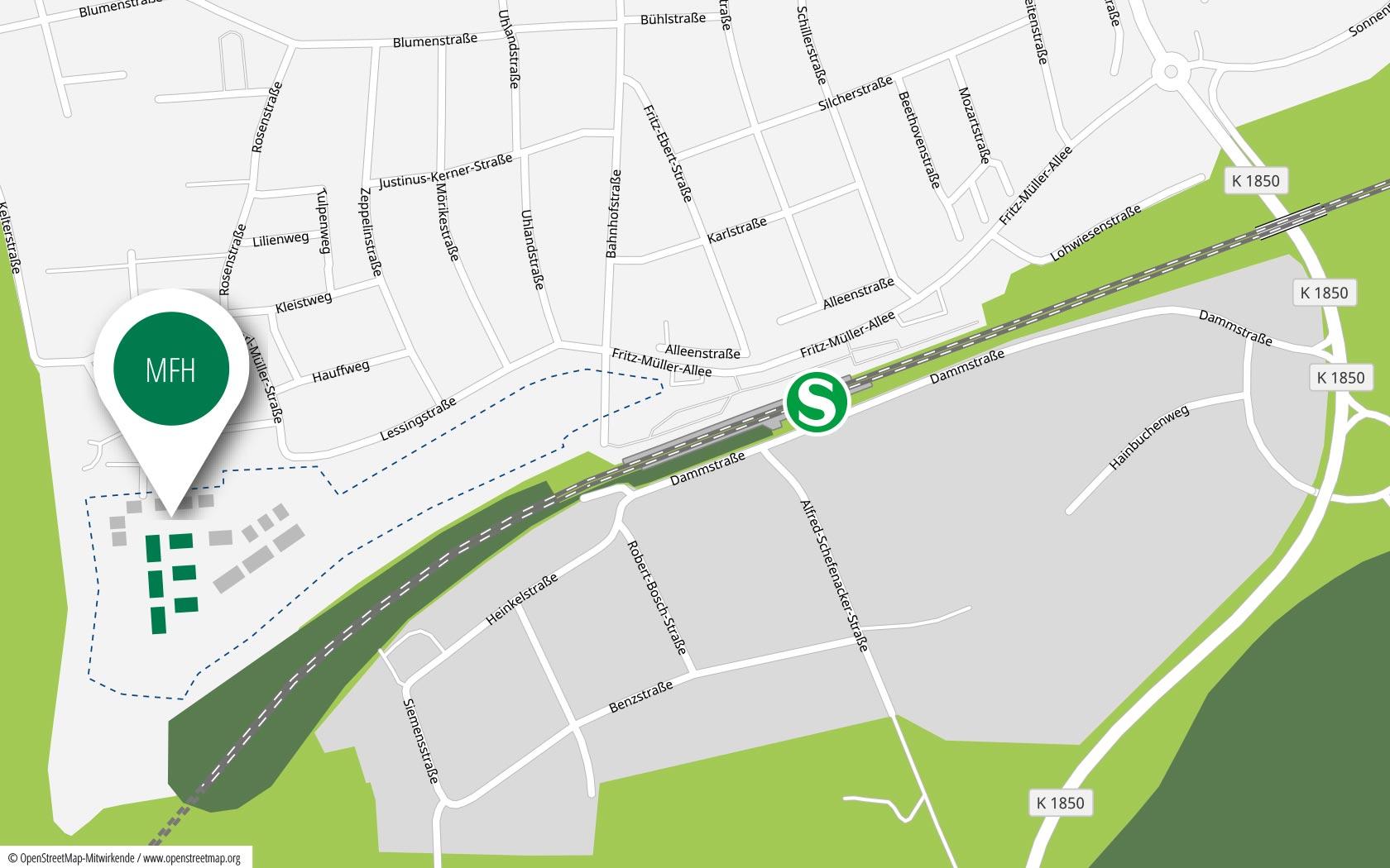 Pfleiderer Projektbau: Wohngebiet Heisse Klinge, Schwaikheim, Anfahrt