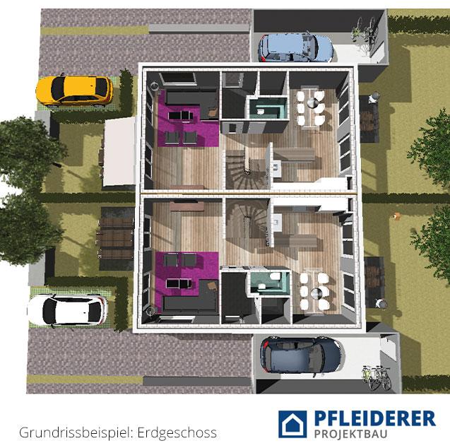 Pfleiderer Projektbau: Doppelhäuser Schwaikheim, Heisse Klinge, Mittelpunkt