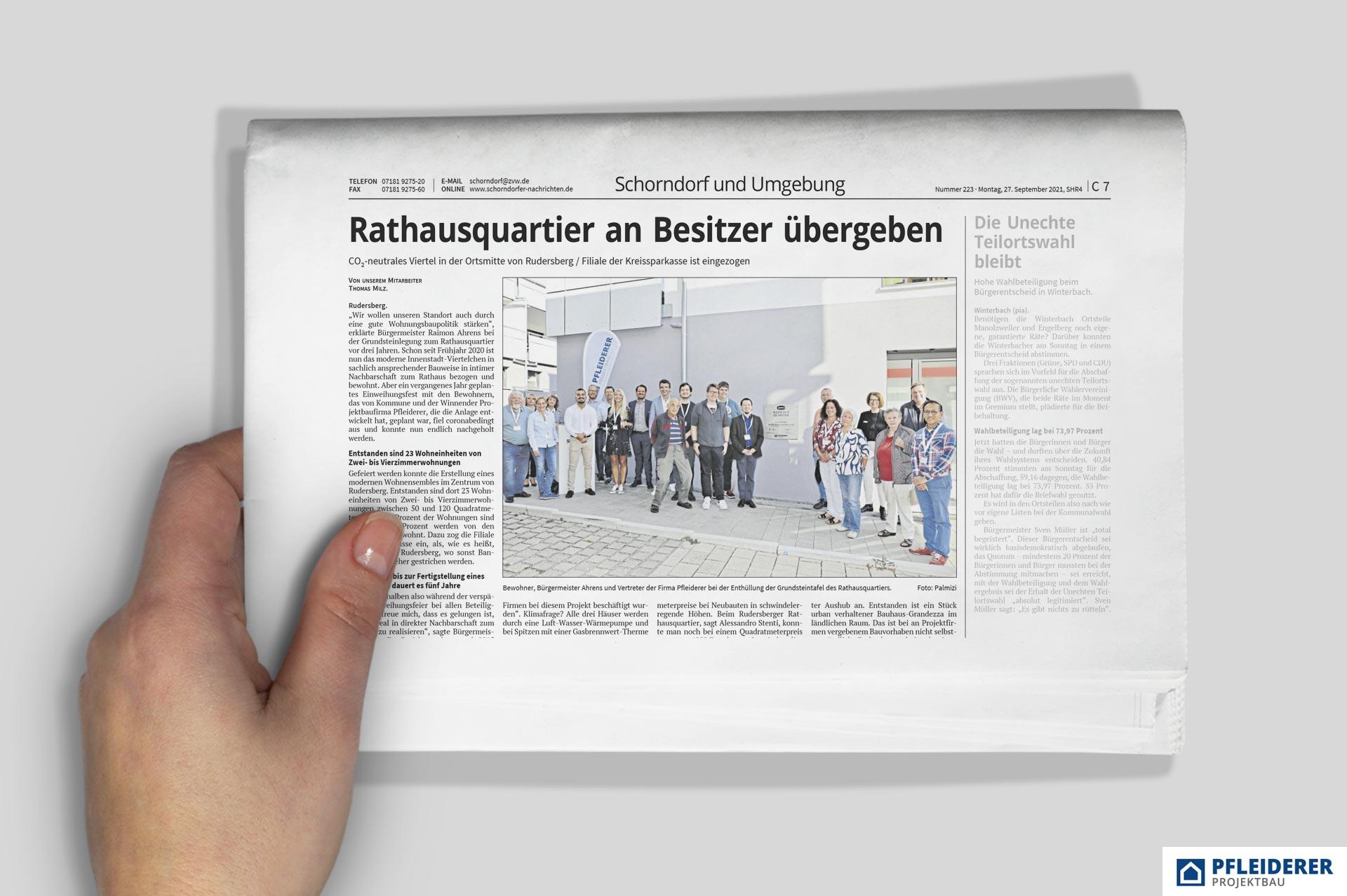 PFLEIDERER: Zeitungsartikel RATHAUSQUARTIER