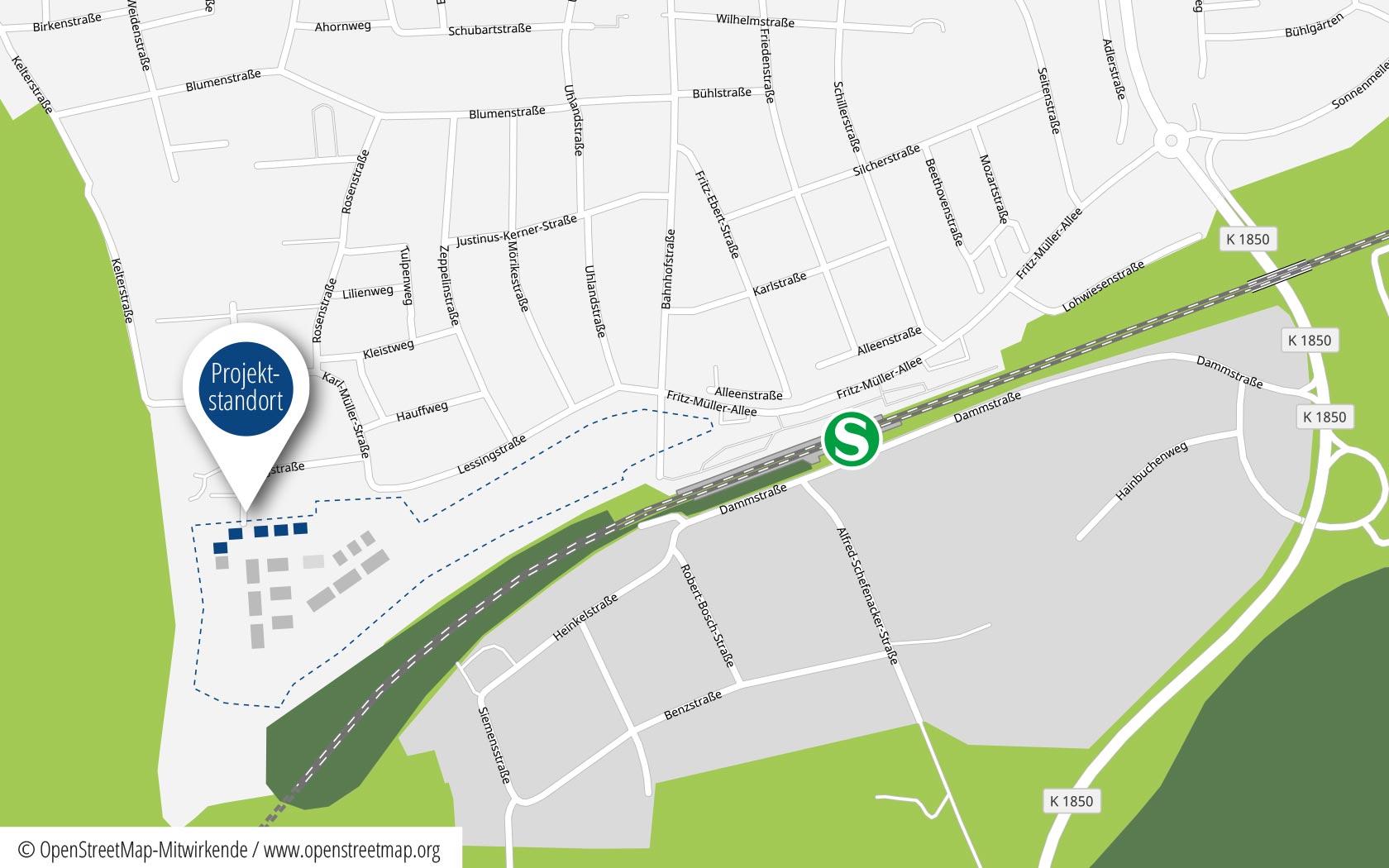 Pfleiderer Projektbau: Doppelhäuser Schwaikheim, Heisse Klinge, Mittelpunkt, Anfahrt