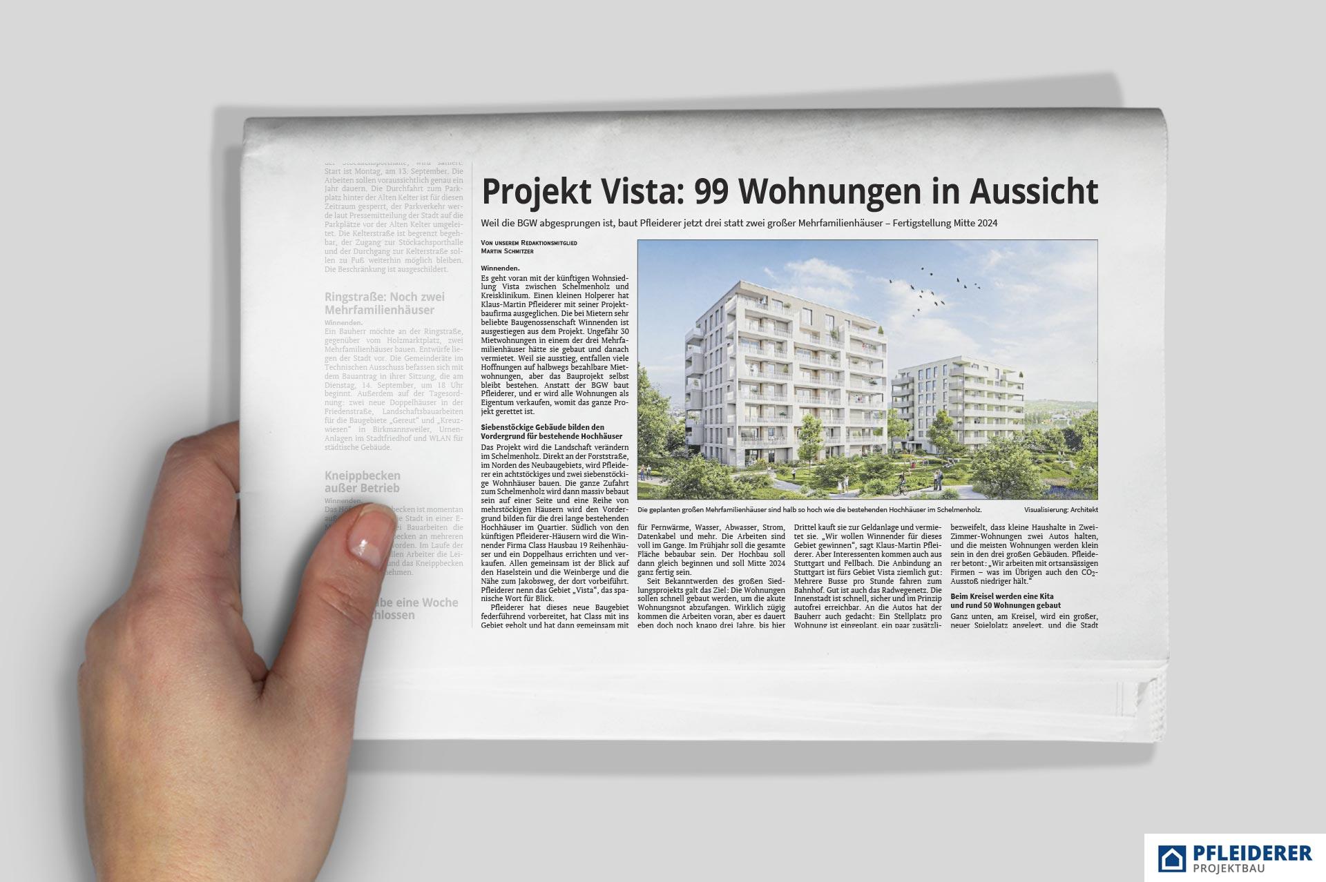 PFLEIDERER: Zeitungsartikel VISTA, Körnle, Winnenden